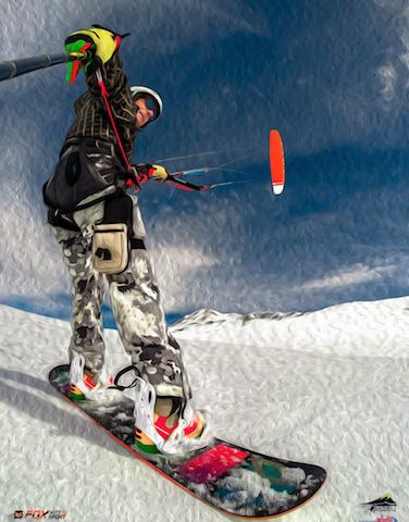 giufo leo XShot kite snowboarding